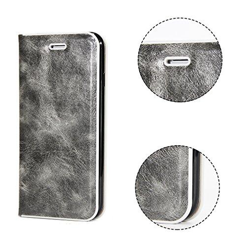 2017 Neu Hochwertige Kohlefaser automatische Saug-Schnalle Hülle Case ,TPU + Leder Cover Full Body Schutz für apple iphone 7(Gray) Gray