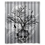 BBFhome Hem Gewichte Duschvorhang 180 x 180 CM Creative Schädel Baum Black Eagle