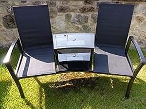 schwarz 2 sitzer garten bank gartenbank sitzbank zweiersofa zwei st hle mit tisch. Black Bedroom Furniture Sets. Home Design Ideas