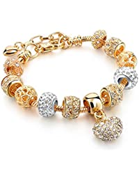 Hot And Bold Gold Plated Pandora Lucky Dice/Heart/Love Charms DIY Bracelet. Daily/Party Wear Stylish Fashion Jewellery.