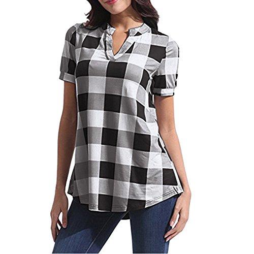 KUDICO Damen Oberteile T-Shirt Kurzarm Bluse mit V-Ausschnitt Kariertes Hemd mit unregelmäßigem Saum Tunika Top(Weiß, X-Large) - Mieder Rock Seide