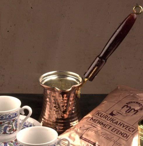 The Turkish Emporium Cazo de cobre para café turco con mango de madera
