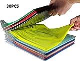 Miaogo Kleiderschrank Organizer Schubladen Organizer Schnelle Wäsche Organizer transparent Board Regal T-Shirt Faltbrett,30er Pack (30pack)