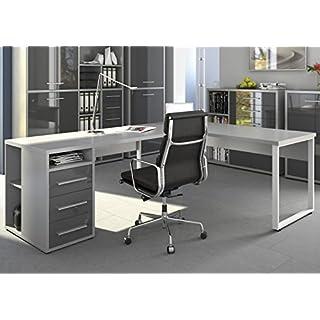moebel-dich-auf Maja Eckschreibtisch Winkelschreibtisch Schreibtisch Set Plus 1675 1677 Büromöbel in Platingrau/Grauglas Schenkelmaß 170x220 oder 220x170