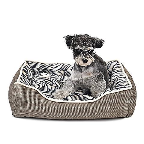 GR Luxury Pet Bed Non-Slip Pet House Coussin amovible Canapé de chien chaud Cat Cave Zebra Texture ( Size : S )