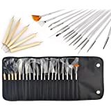 JZK ® 20 x Profesional pinceles de uñas arte clavo uña diseño cepillo pincel lápiz herramienta kit con una bolsa