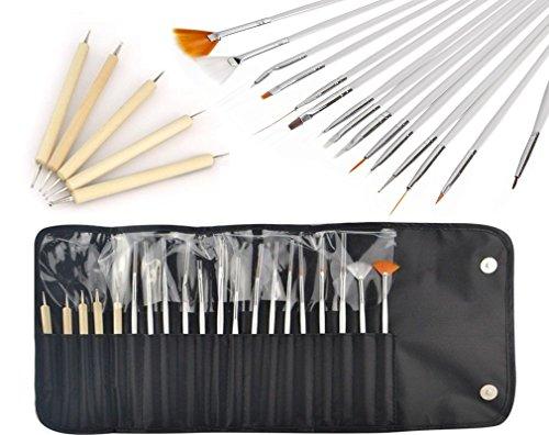 JZK® Set di 20 pennelli penne e dotters kit con punte tutte diverse strumenti professionale per decorazioni unghie gel nail art disegni di precisione manicure pedicure, con un borsa