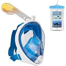 Emsmil Masque de Plongée Intégral Plein Visage avec Tuba Support Caméra gopro sous Marine Schnorkel Snorkeling Respiration Anti-buée Anti Fuite Étanche Sac Téléphone pour Adulte et Enfants Bleu L/XL