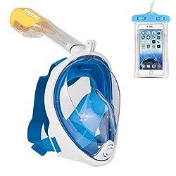 Emsmil Schnorchelmaske Vollmaske Tauchmaske Easybreath 180 Grad Blickfeld Anti-Fog und Anti-Leak mit Ohrstöpsel und Wasserdichte Handytasche für Alle Erwachsene und Kinder Blau