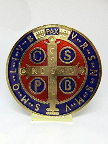 GTBITALY 69.080.21Base Medalla San Benito tamano 10cm Dorado esmaltado a Mano artigianalmente con Base Expositor esorcista esorcismo