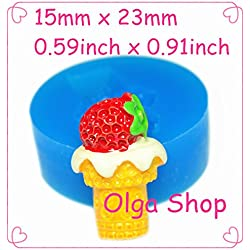 X141 moule silicone pâte fimo glace fruit (15x26mm)