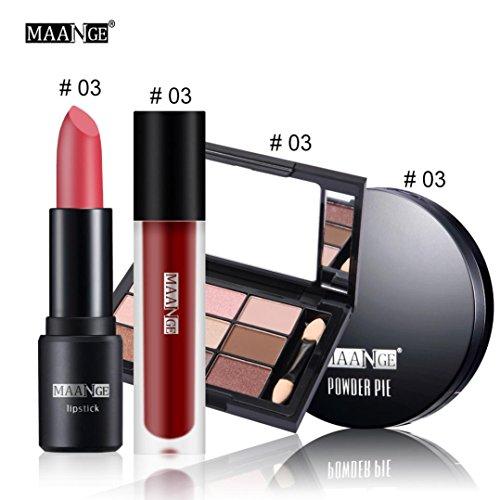 Makeup-Set,Jaminy Kosmetisches 4-Teiliges Set Matte Lippenstift Matte Lippe Glasur Symphonie 9 Farbe Lidschatten Concealer Öl-Concealer (C)