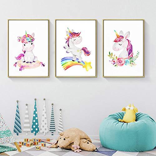 MYSY Regenbogen Einhörner Bunte Wandkunst Kinderzimmer Leinwand Malerei für Kinder Mädchen Zimmer Decor-30x40cmx3 Stück kein Rahmen