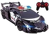Vokodo Voiture de Police télécommandée Super Exotique avec phares à Del Fonctionnels (véhicule de Course de Police) Grande échelle 1:16 Noir