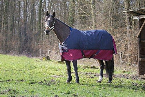 Synthetischem Lammfell Pad (Outdoordecke TYREX 1200 D Equi-Theme 150g Füllung 155 cm wasserdicht dunkelblau/weinrot mit Kreuzgurten | Pferdedecke)