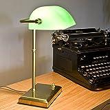 Bankerleuchte mit Smaragd grünem Glas | Bankerslamp dimmbar über Drehdimmer | Leuchte in Messing | Höhe 38cm