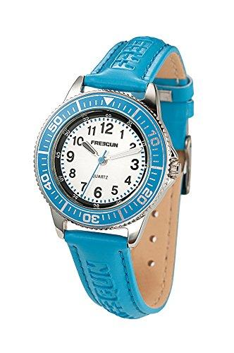 cd98d984ab3cf Freegun - EE5182 - Montre Garçon - Quartz Analogique - Cadran Bleu -  Bracelet Cuir Bleu