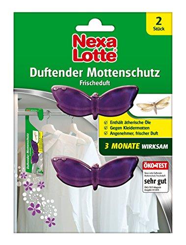 Nexa Lotte Duftender Mottenschutz Frischeduft, Mottenschutz, insektizidfreie, bekämpfende und abwehrende Wirkung gegen Kleidermotten und deren Larven 3 Monate lang, 2 Dispenser