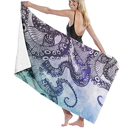 xcvgcxcvasda Serviette de bain, Bstract Octopus Kraken Personalized Custom Women Men Quick Dry Lightweight Beach & Bath Blanket Great for Beach Trips, Pool, Swimming and Camping 31