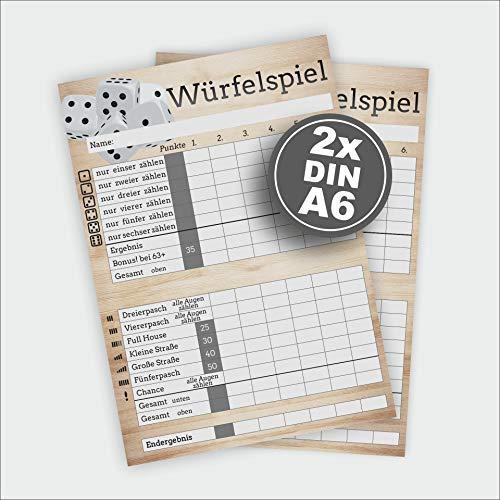 Werbeagentur-Finkbeiner Würfelspiel DinA6- Würfelblock 2X 50 Blatt auf 80g/m² Naturpapier
