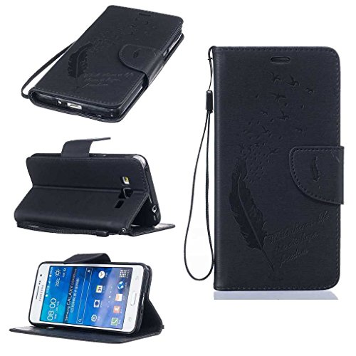 Galaxy Grand Prime Case [with Free Tempered Glass Screen Protector], KKEIKOŽ Galaxy Grand Prime Wallet Case, Durable Leather Case Flip Cover with Card Holder, Wallet Holster Case Shock Absorber Cover Flip Case for Samsung Galaxy Grand Prime (Black)