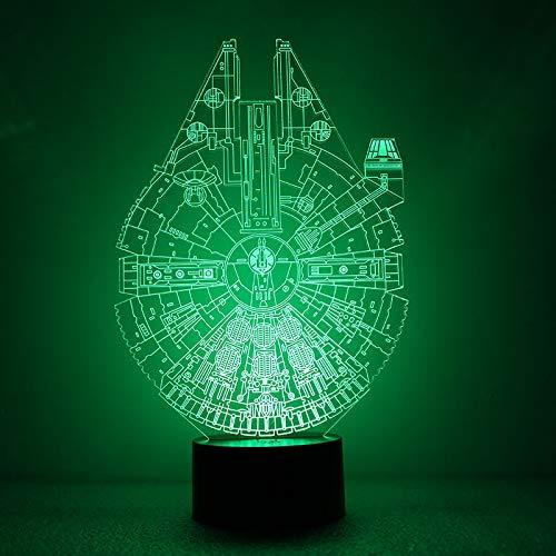 orangeww 3D LED Star Wars Millennium Falcon Nachtlicht BB8 Roboter Illusionslampe Nachtlicht Raumdekoration Nacht Geschenk für Kinder Weihnachten Geschenk Licht