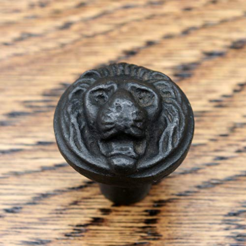 Knobs Cupboard, Kitchen Door Drawer Cabinet knobcast iron, Compatible for Head black, Fish Fishes (Lion 26mm no 45)