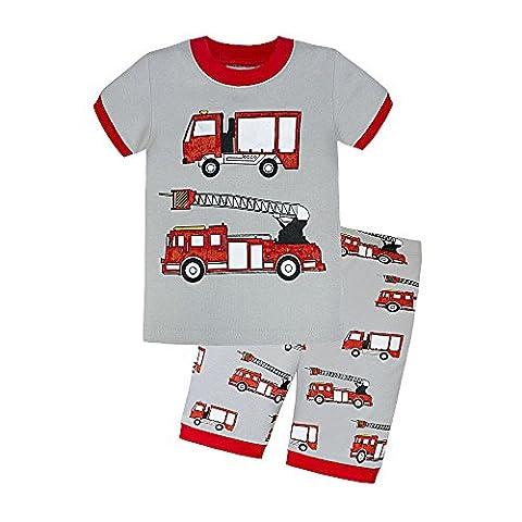 Backbuy Jungen Zweiteiliger Kurze Schlafanzug 100% Baumwolle Auto Größe 2-7Jahre (2 Jahre, Rot)