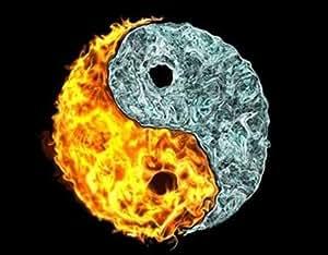 Motif de Ying et Yang-Fire and Ice, tapis de souris/set de 24 x 19 cm