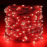 Lichterkette,FeiliandaJJ 20M 200pcs Wasserdichte Flexibel Kupferschnur LED Licht Hochzeit Party Halloween Xmas Innen/Außen Haus Deko String Lights (Rot)