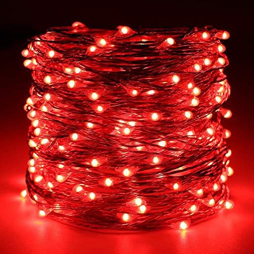 Lichterkette FeiliandaJJ 300LED 30M Extra lange Sternenhimmel Wasserdicht Kupferdraht LED Licht Dekoration für Outdoor, Terrasse, Rasen, Landschaft, Märchengarten,Weihnachtsbaum String Lights (rot)