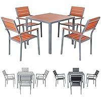 Miweba Bermuda Polywood 4+1 Aluminium Sitzgarnitur 90x90 Alu Gartenmöbel 4  Stühle Sitzgruppe Tisch Holz