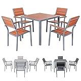 Miweba Bermuda Polywood 4+1 Aluminium Sitzgarnitur 90x90 Alu Gartenmöbel 4 Stühle Sitzgruppe Tisch Holz Gartenset (Braun)
