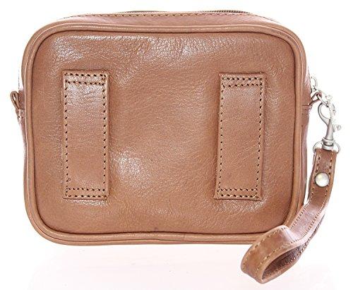 BRANCO Handgelenktasche Herrentasche Bag Börse Etui Tasche Echt Leder (Schwarz) Dunkelbraun