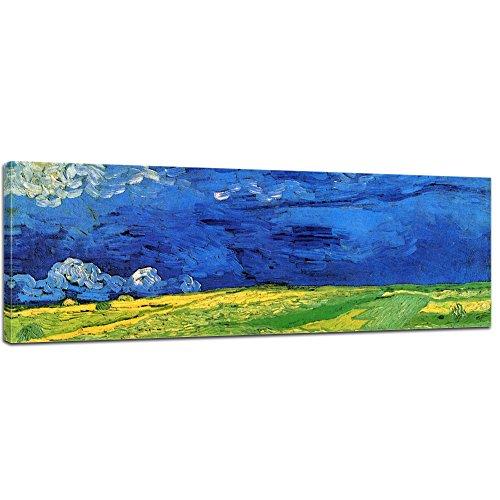 Leinwand-reproduktion, Leinwanddruck (Keilrahmenbild Vincent Van Gogh Weizenfeld unter einem Gewitterhimmel - 160x50cm Panorama quer - Alte Meister Berühmte Gemälde Leinwandbild Kunstdruck Bild auf Leinwand)