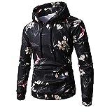 Luckycat Herren Long Sleeve Flower Printed Hoodie Kapuzen-Sweatshirt Top T-Shirt Outwear Mode 2018