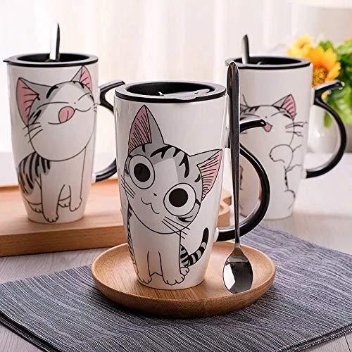 Tazza in ceramica bianca con disegno di gattino 600 ml - compresa di coperchio di chiusura e cucchiaino - tazza per thè, latte, caffè - ideale come idea regalo (g-02)