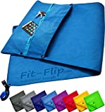 Fit-Flip 3-TLG Fitness-Handtuch Set mit Reißverschluss Fach + Magnetclip + extra Sporthandtuch | zum Patent angemeldetes Multifunktionshandtuch, Microfaser Handtuch (blau)