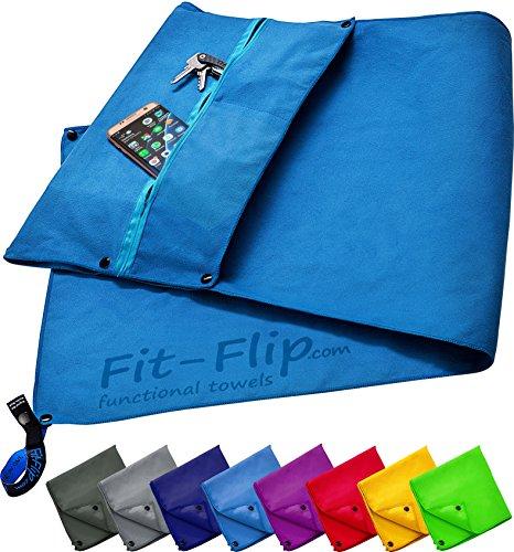 3-tlg Fitness-Handtuch Set mit Reißverschluss Fach + Magnetclip + extra Sporthandtuch | zum Patent angemeldetes Multifunktionshandtuch, Fit-Flip Microfaser Handtuch (blau)