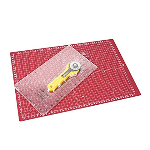 SewEasy Quilter Set klein mit Schneide-matte 47 x 30,4 cm (A3) + Schneide-lineal + Roll-schneider | mit Hilfslinien in Zentimeter und Inch Skalierung | schont Klingen | Schneide-Unterlage, Cutting-mat cutting-board für Patchwork | grün-dunkelrote Bastel-matte, Bastel-unterlage, Arbeits-unterlage | Beidseitig verwendbar als Nähunterlage von Sew Easy ||-