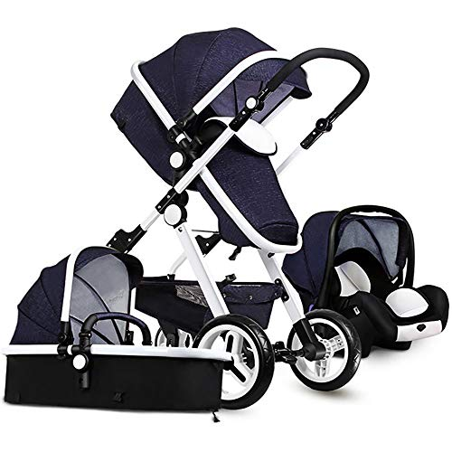 Baby Stroller,Babyfond-JTBS,T900 Folding Travel System Pushchair,Lightweight Sleeping Bassinet,Hand-held Safe Seat for 0-3 Year Old Newborn (Blue) (Travel Baby-baby System)