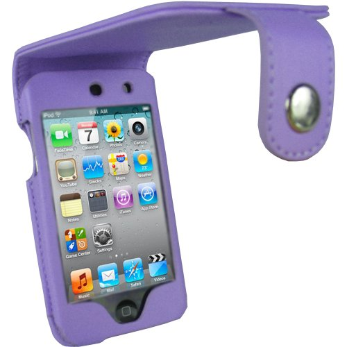 igadgitz PU Leder Tasche Schutzhülle Etui Case Hülle in Lila für Apple iPod Touch 4G 4. Gen Generation 8gb 32gb & 64gb + Gürtelbefestigung + Display Schutzfolie