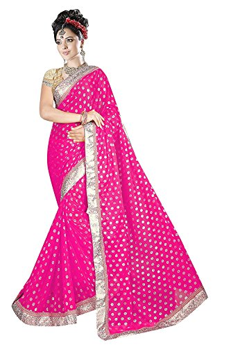 Onlinehub Georgette Saree With Blouse Piece (Onlinehubpinknilam12_Pink_Free Size)
