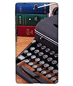PrintHaat Back Case Cover for Lumia Lumia 540 :: Microsoft Lumia 540 (old style typewriter :: typewriter on the table with some books behind it :: in red, green, blue and black)