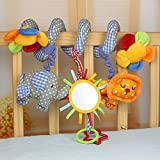 Enlarge toy image: Elephant Lion with Mirror Bell Baby Music Bed Hanging Cribs Toy-Baby Children Twisty Curly Pram Pushchairs Car Seat Cot Toy-Musical Bed Cartoon Gift Toys