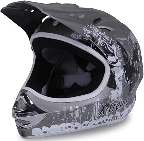 Actionbikes Motors Motorradhelm X-treme Kinder Cross Helme Sturzhelm Schutzhelm Helm für Motorrad Kinderquad und Crossbike Modell Design 2015 in dunkel grau Matt (Large)