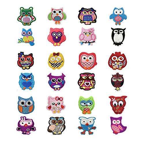 Lumanuby 24x Stickerei Eule Aufnäher für Mädchen oder Jungen Kleidung Als Pullover Hoody Mantel Jeans oder T-Shirt, Owl Patch in verschiedenen Stilen, Aufnäher Serie Size Wie Gezeigt