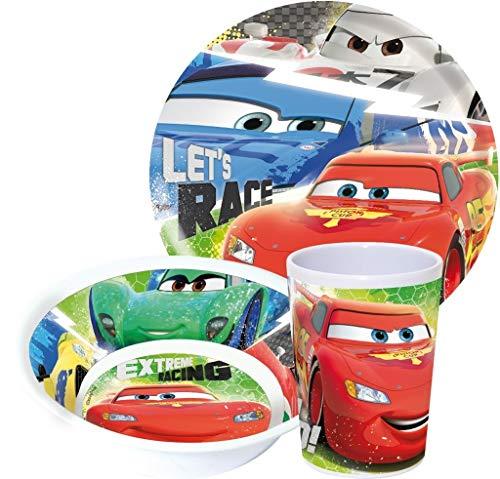 Disney Cars Kinderservice mit Teller, Müslischüssel und Trinkbecher aus Melamin