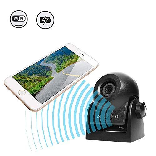 WiFi Magnetic Wireless Backup Kamera, die Kamera IP68 wasserdichte Rückfahrkamera-Anhängekamera für Anhänger, Reiseanhänger mit intelligenter APP Intelligent Kompatibel mit Android und iPhone aufhebt