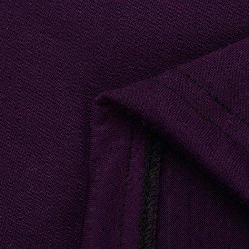 Donne Camicetta,EUZeo Donna Donne Sexy Cerniera Casuale T-Shirt Tre Quarti Manica Cime Camicetta Viola